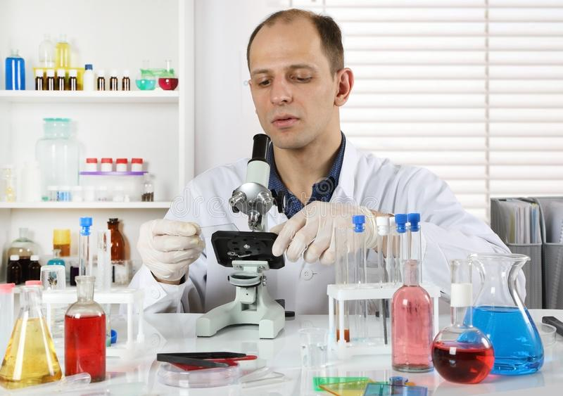 Young scientist working in the laboratory stock image