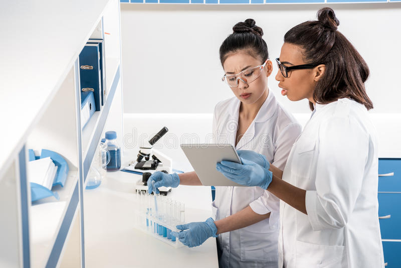 Young scientists using digital tablet while making experiment in chemical laboratory, scientists working together. Professional young scientists using digital royalty free stock images