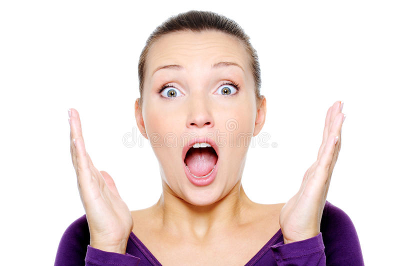 Young Screaming Woman With Hands Up Stock Photos