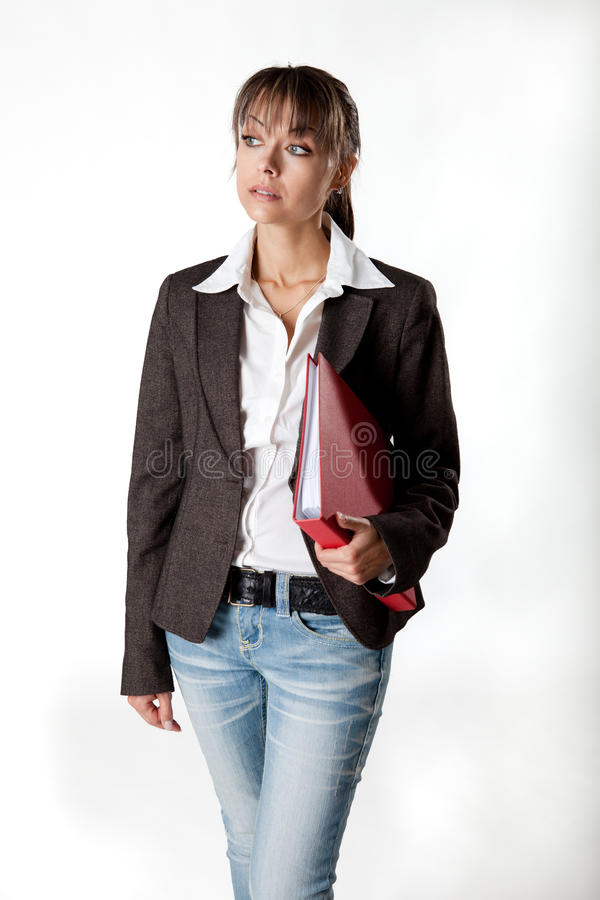 Download Young Secretary With A File Under Her Arm Royalty Free Stock Photos - Image: 18461568