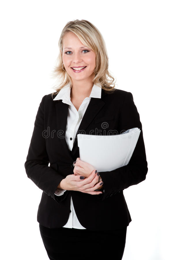 A young secretary with files in her arm stock photo