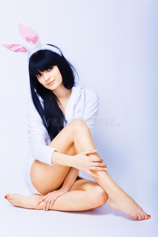Download Young Seductive Woman With Rabbit Ears Stock Photo - Image: 17617420