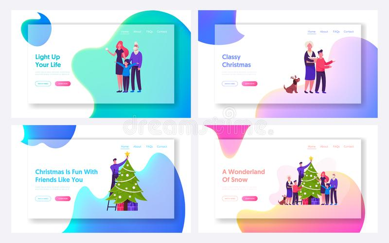 Young and Senior Generation Celebrate Winter Holidays Party Website Landing Page. Father Mother Children. And Grandparents Decorating Fit Tree at Home Web Page stock illustration