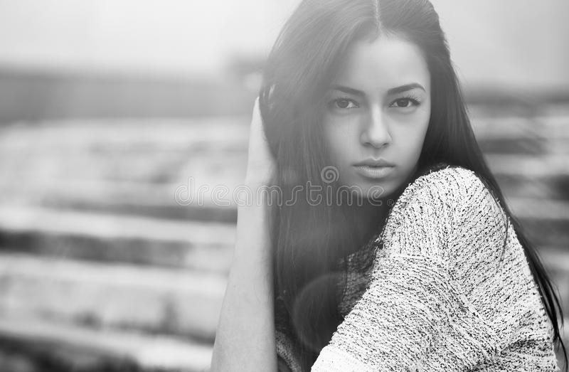 Young sensual model girl face. Black-white photo royalty free stock photos
