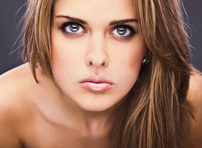 Young sensual model girl pose in studio. royalty free stock photos
