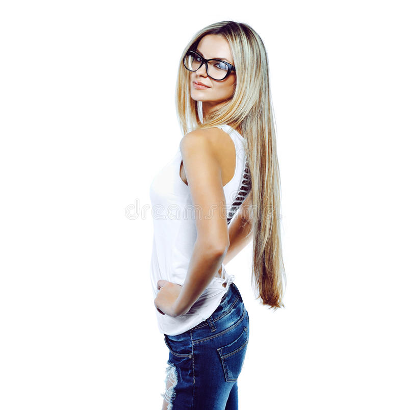 Young sensual model girl pose in studio wearing glasses stock images