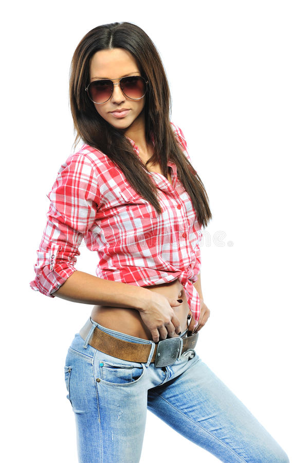 Young sensual model girl pose in studio wearing sunglasses isolated over white background stock photos