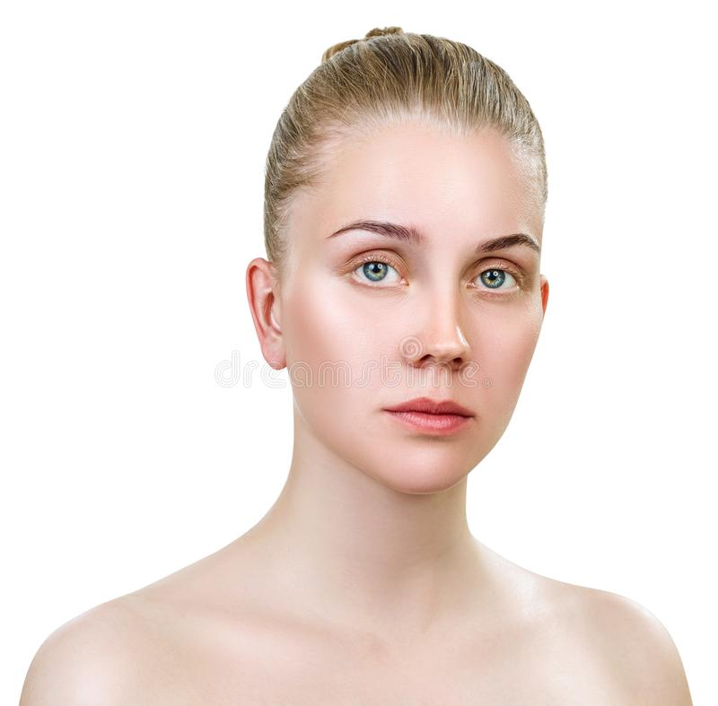 Young sensual woman without make-up and clean healthy skin. royalty free stock photos