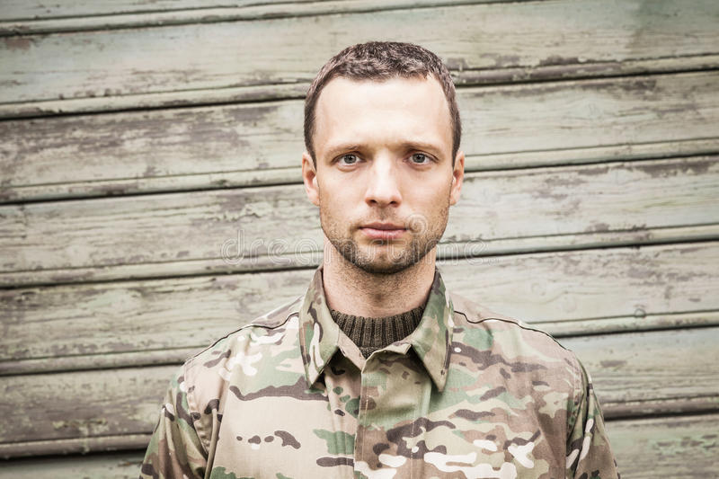 Young serious Caucasian military man royalty free stock image