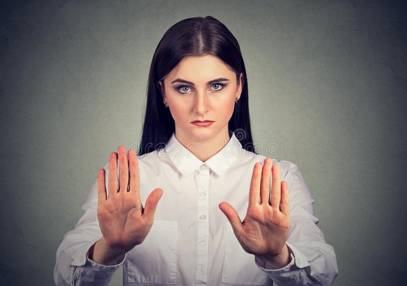 Confident woman asking to stop royalty free stock photo