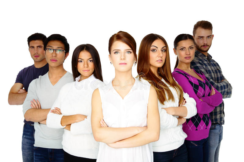 Young serious people looking at the camera stock photography