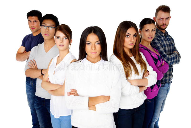 Young serious people looking at the camera royalty free stock photography