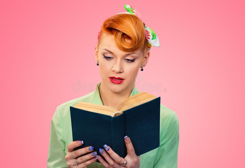 Pensive woman reading book royalty free stock photo