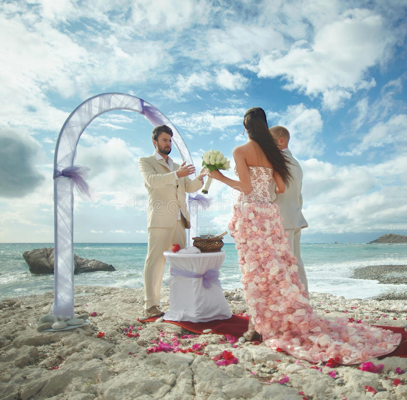 Sandy Beach: Young, And Attractive Couple Listening Preacher Speech
