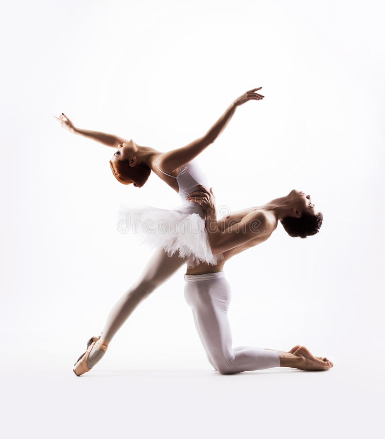 Young and ballet couple dancing stock photos