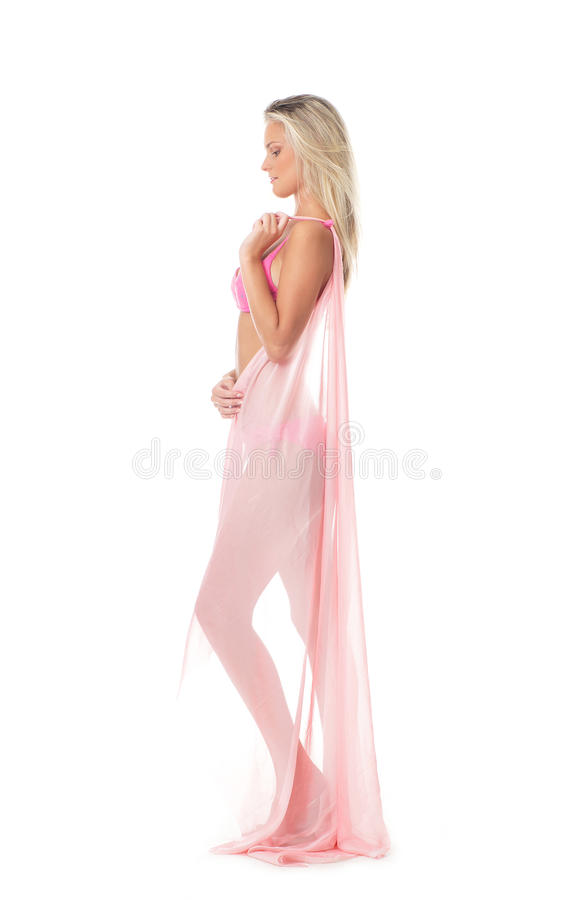 Download A Young And Blond Posing With A Pink Blanket Stock Photo - Image: 21094362