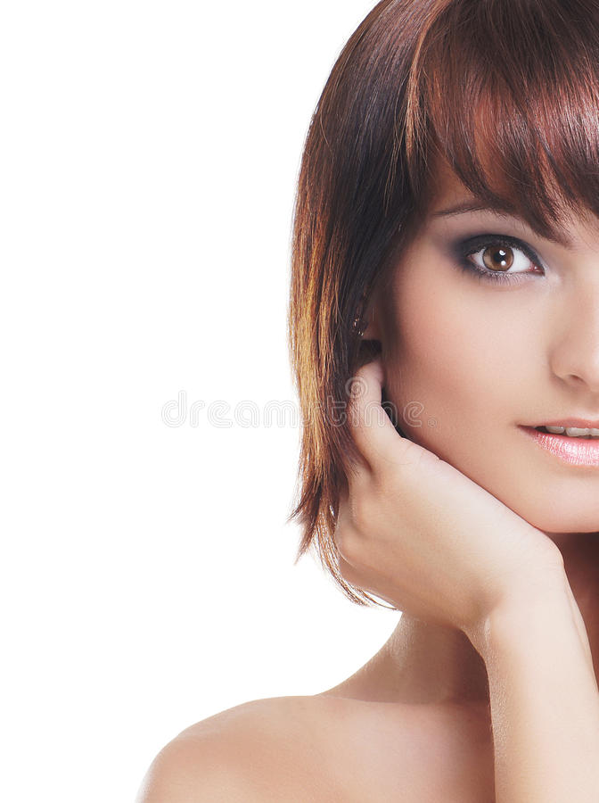 Download Young Brunette Isolated Over White Background Stock Photo - Image: 22021548