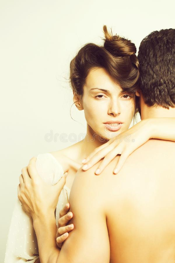 Young sexy couple in studio royalty free stock images