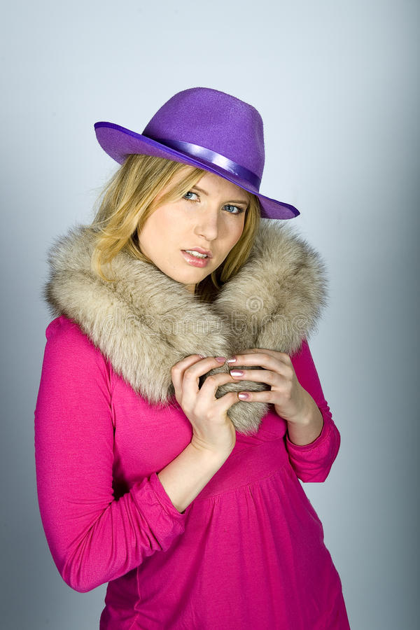 Download Young Elegant Woman With Animal Fur Stock Image - Image: 12411273