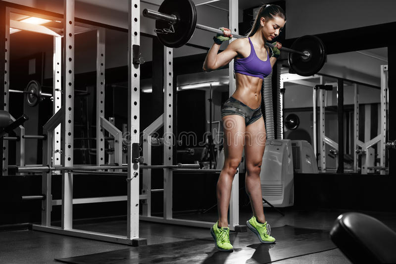 Young girl in the gym doing squat. Young brunette woman in the gym doing squat with heavy barbell stock image