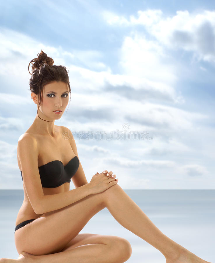 Download A Young And Lady In Black Lingerie Stock Image - Image: 14168011