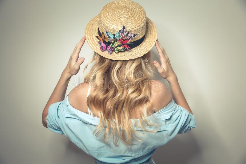 Young sexy lady in canotier hat royalty free stock photo