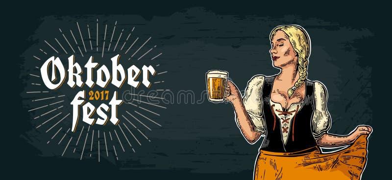 Young Oktoberfest girl dirndl dancing and holding beer mug. stock illustration