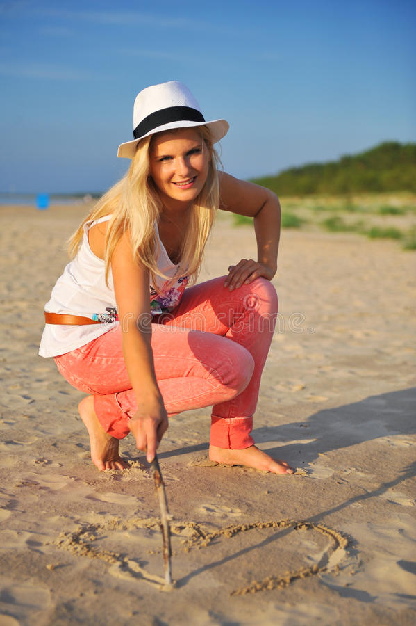 Download Young Summer Woman On The Beach Stock Image - Image of happiness, beauty: 12396481