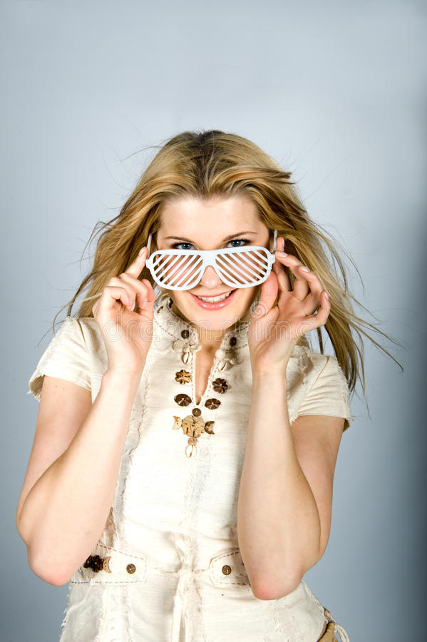 Download Young Summer Woman With Funky Glasses Stock Image - Image: 12218159
