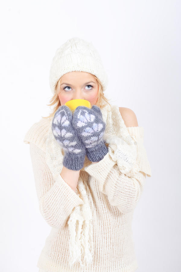 Download Young Winter Woman With Cup Of Tea Stock Photo - Image: 12164904