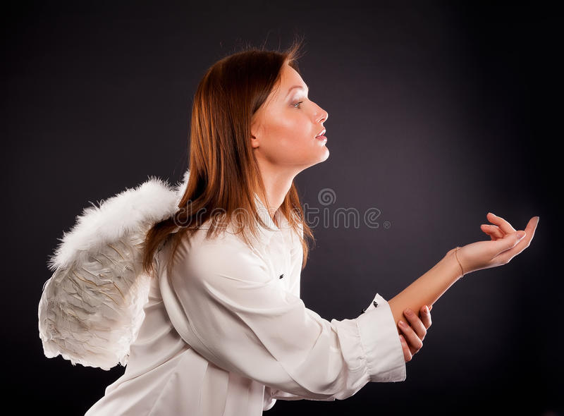 Download Young Woman With Angel Wings Calling Royalty Free Stock Images - Image: 31034129