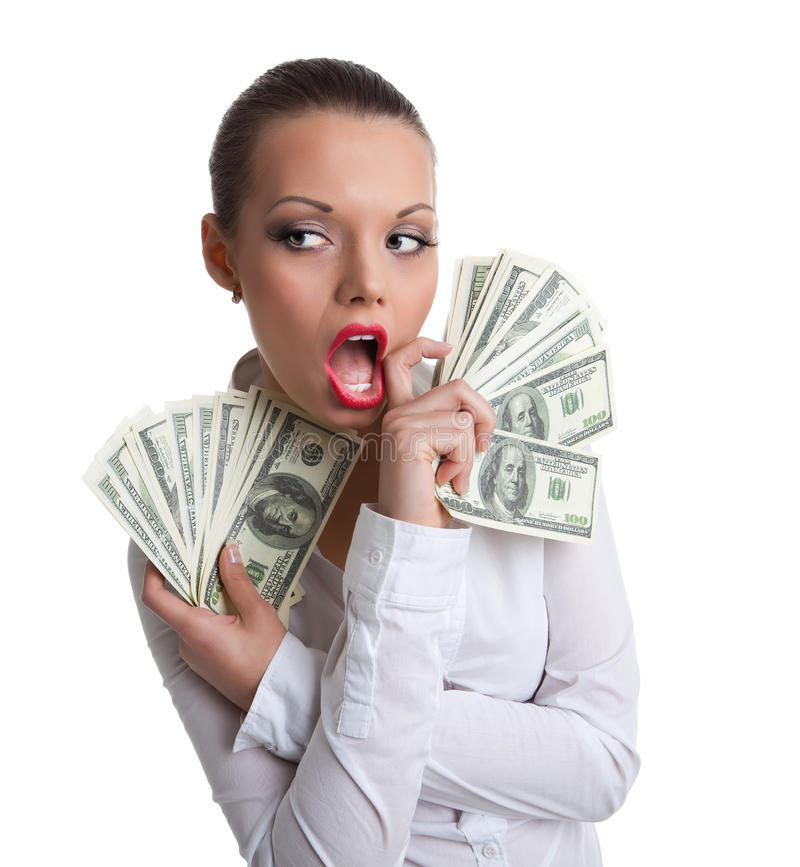 Young woman with bundle of money wipe a mouth stock photos