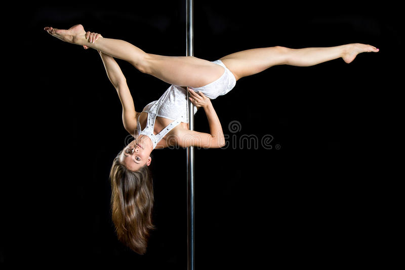 Young Woman Exercise Pole Dance Royalty Free Stock Image
