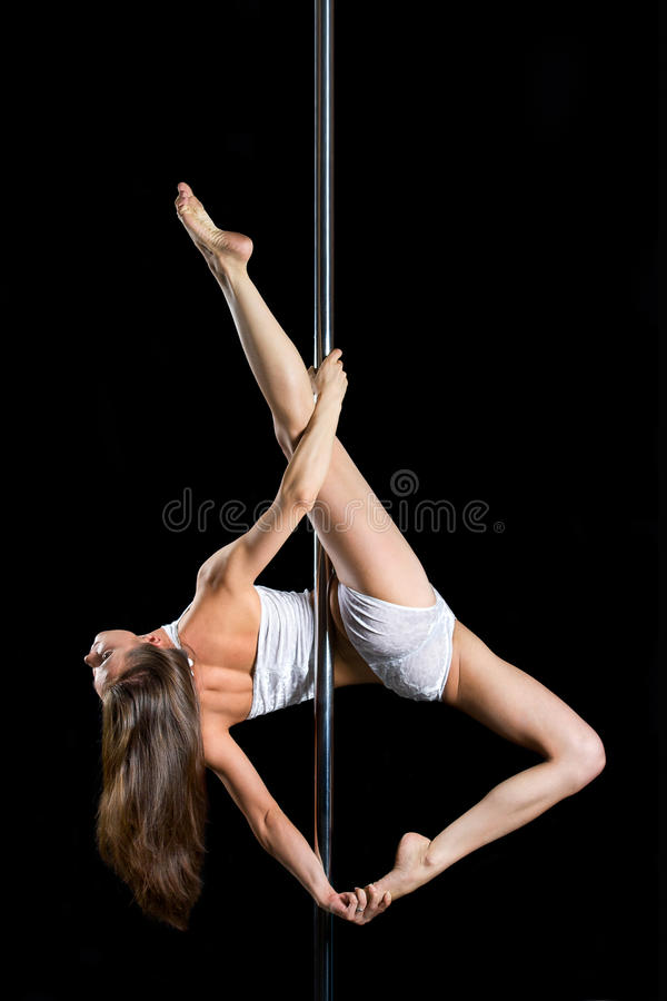 Download Young Woman Exercise Pole Dance Stock Image - Image of dancer, beauty: 26084829