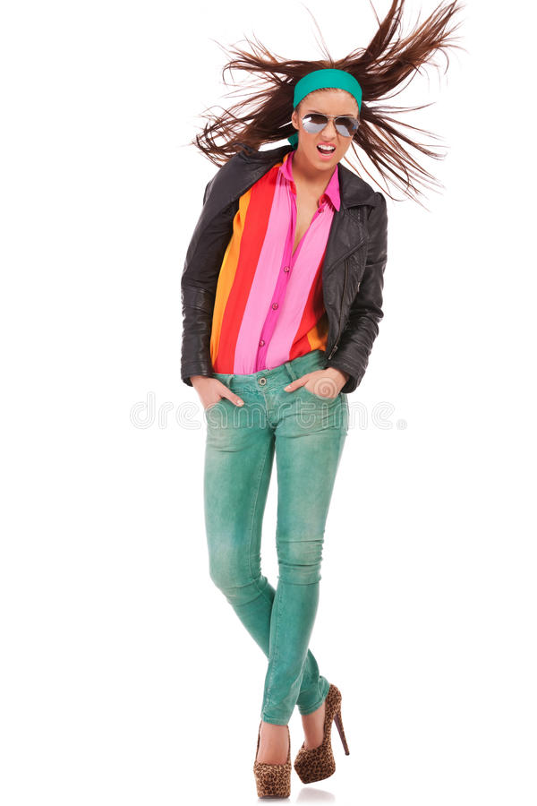 Young woman in leather jacket royalty free stock photography