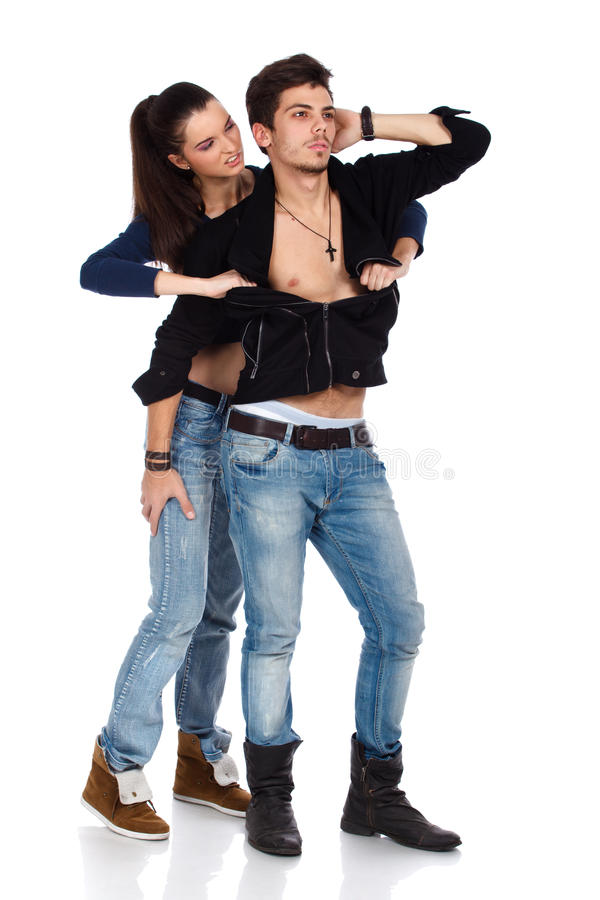 Download Young Woman Ripping Boyfriend Shirt Stock Image - Image: 23420287