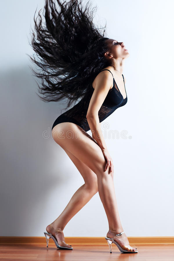 Young woman shaking hair royalty free stock photos