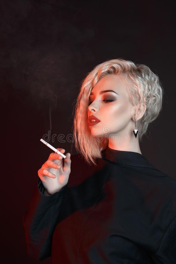Young Woman Smoking Cigarette Stock Photo Image Of