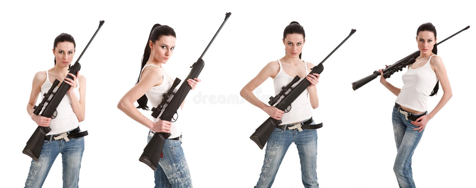 Download Young Woman With A Sniper Rifle. Stock Image - Image: 19509145