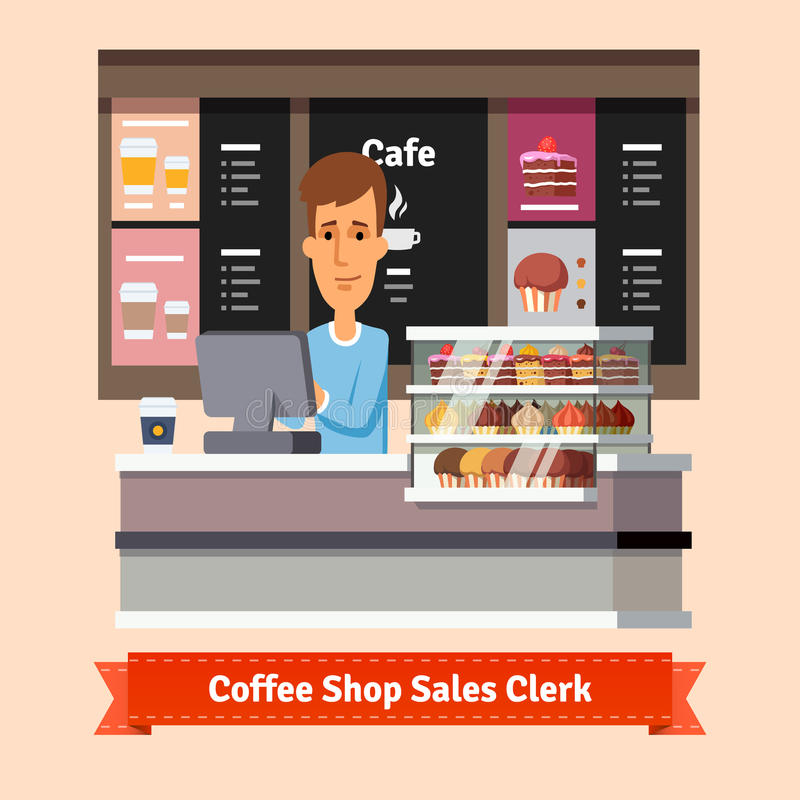 Young shop assistant serving a cup of coffee vector illustration