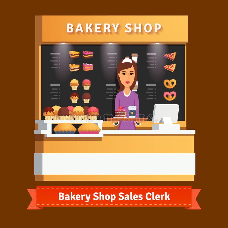 Young shop woman assistant at the cashier desk stock illustration