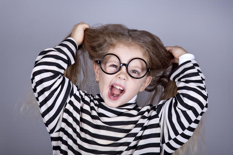 Young Shouting Child In Glasses Stock Photography