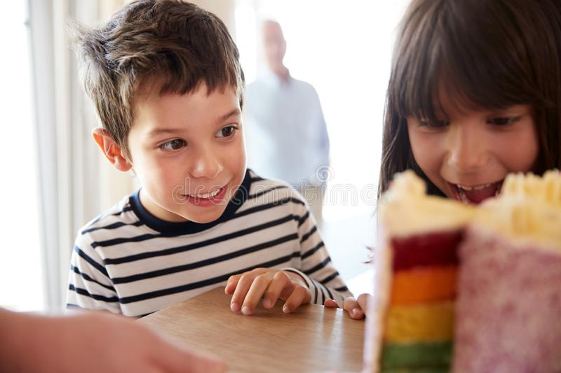 Young siblings looking at a colourful sliced birthday cake on a table, close up, selective focus royalty free stock photos