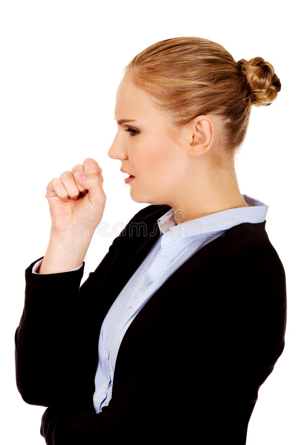 Young sick business woman coughing.  stock photos