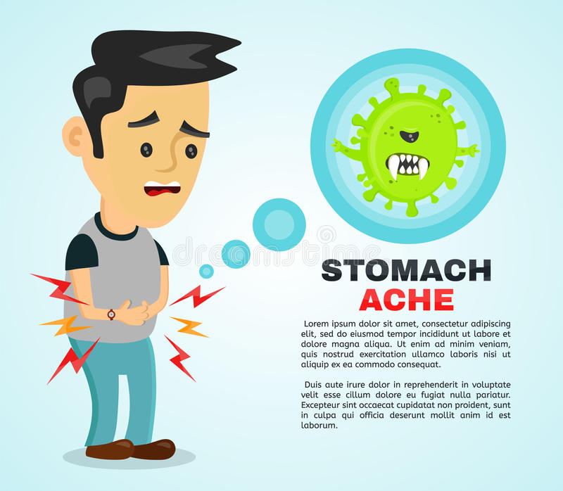 Young sick man having stomach ache, food poisoning, stomach problems, abdominal pain . Vector flat cartoon character illustration. Infographic. Medical concept royalty free illustration