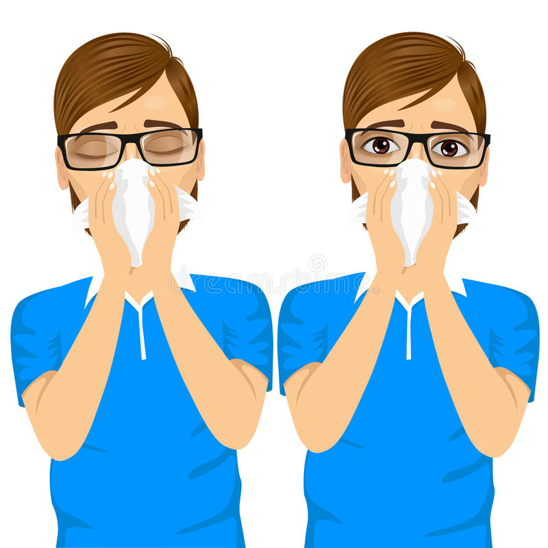 Young sick man ill suffering allergy. Portrait of young sick man ill in two different outfit styles suffering allergy using white tissue on nose on white stock illustration