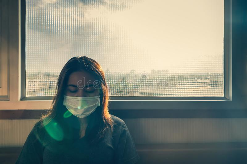 Young sick woman stock image