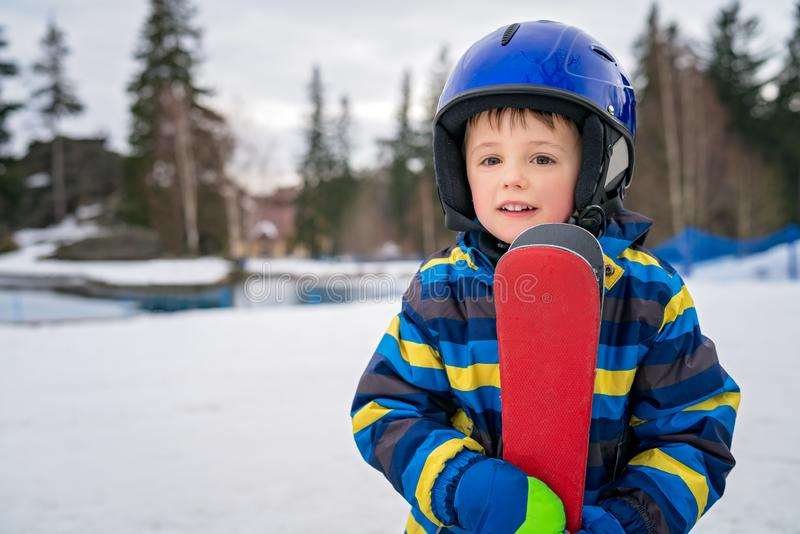 Young skier boy winter portrait royalty free stock images