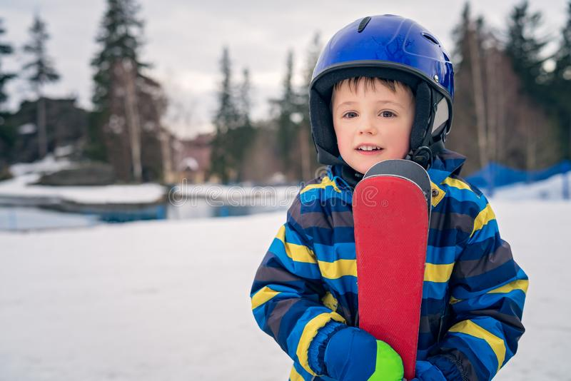 Young skier boy winter portrait stock images