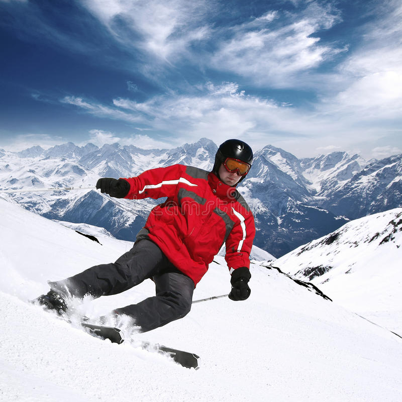 Young Skier In High Mountains Stock Image